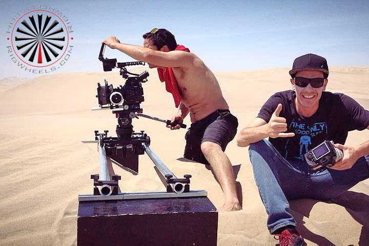Traveling with a camera dolly in the desert