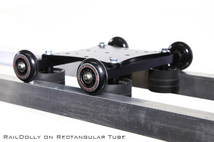 Use this camera dolly kit on square and rectangular pipe-rail