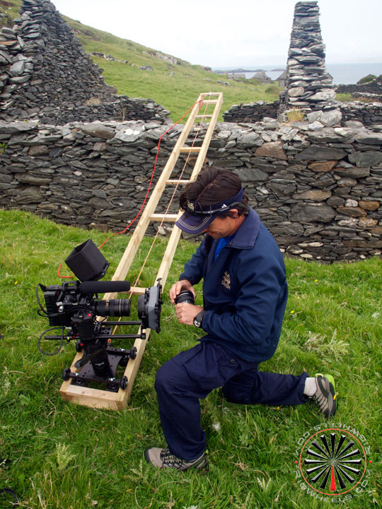 Camera Dolly being used to travel a long distance.